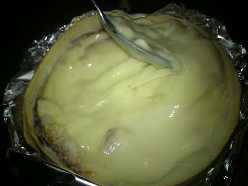 Patates rôties au four & mont d'or cuit (ou boite chaude) sans alcool