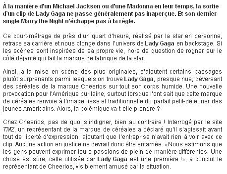 Lady Gaga créer la polémique avec les céréales Cheerios !