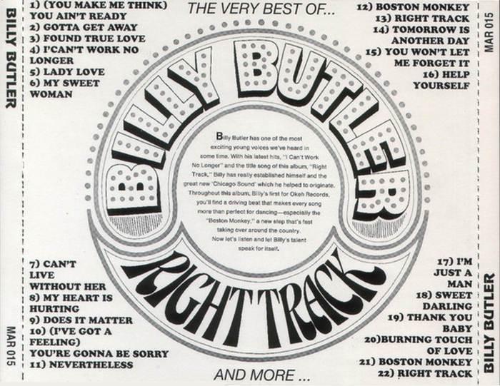 "Billy Butler ‎: CD "" The Very Best Of And More... "" Marginal Records MAR 015 [ BE ]"