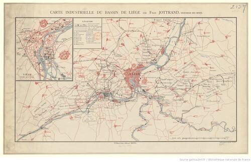Carte industrielle du bassin de Liège par Félix Jottrand (gallica)