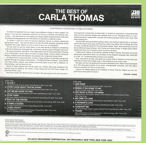"Carla Thomas : Album "" The Best Of Carla Thomas "" Atlantic Records SD 8232 [ US ]"