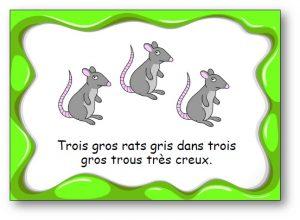 """Virelangue """"Trois gros rats gris"""""""