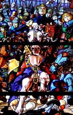 Détail du vitrail représentant La bataille de Las Navas de Tolosa et Sanche VII à Roncevaux.
