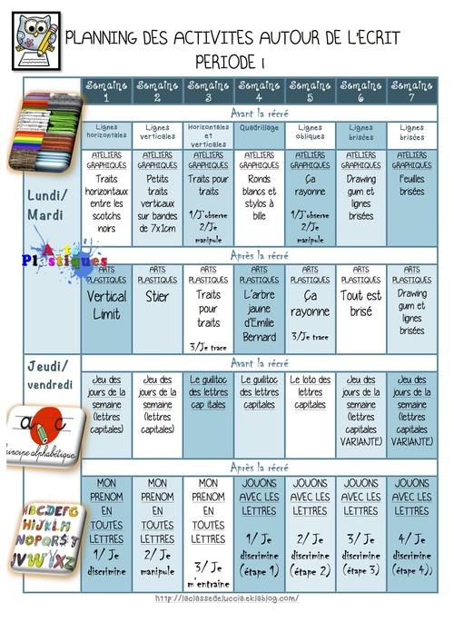 """Planning d'activités """"L'ECRIT"""" en GS période 1"""