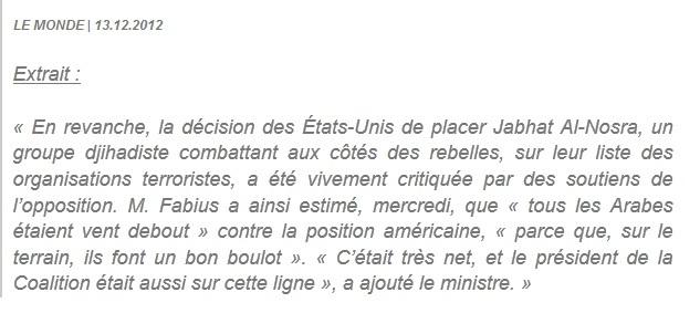 Citation de Laurent Fabius disant qu'Al Nosra faisait du bon boulot en Syrie