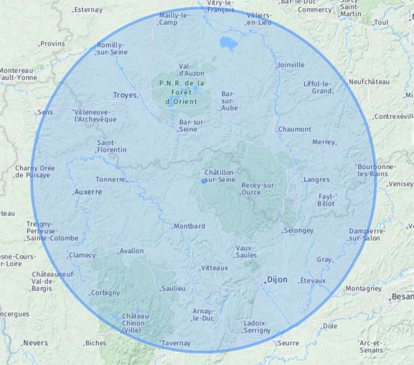 Voici la carte montrant le périmètre de votre sortie de confinement autorisée  de 100 km à partir du 11 mai 2020. ...