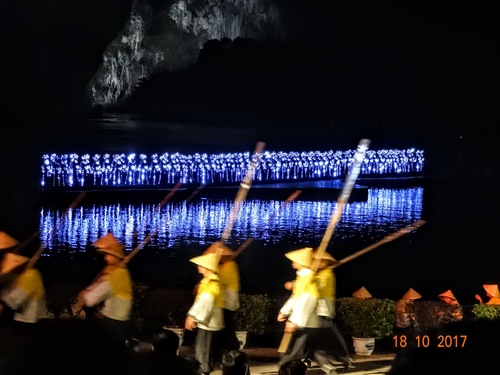 Yangshuo; fin du spectacle; le final;