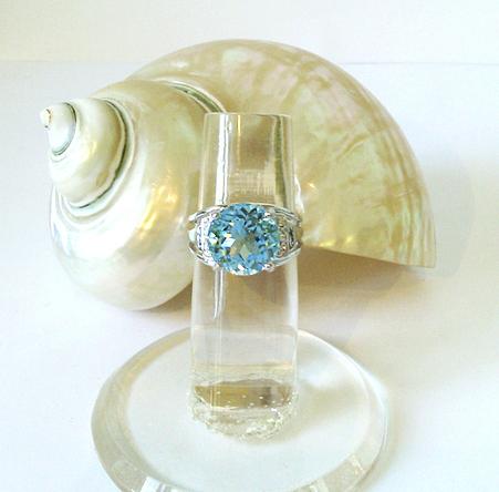 Bague Pierre de Topaze bleue 11 mm et Quartz blanc sur Argent 925 Taille 54 / Size 6,75 US