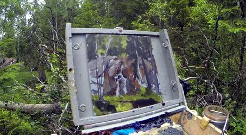 Dessin et peinture - vidéo 2225 : La peinture de plein air à l'acrylique, quelle aventure!!! - le sous-bois.