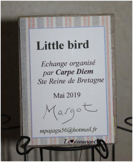 "ATC brodée ""Little bird"""