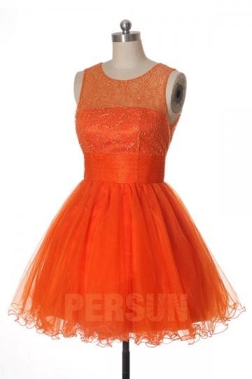 Tutu robe de soirée courte orange brodée
