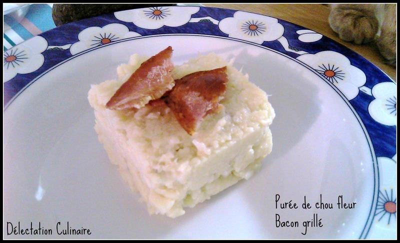 Purée de chou fleur et bacon grillé