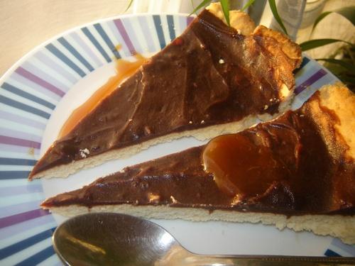 Tarte au chocolat et caramel tout maison