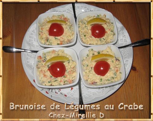 Brunoise de Légumes et Crabe à l'Apéritif