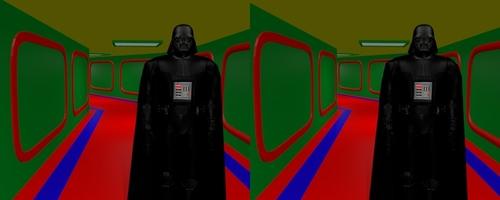 Dark Vader marchant dans un corridor