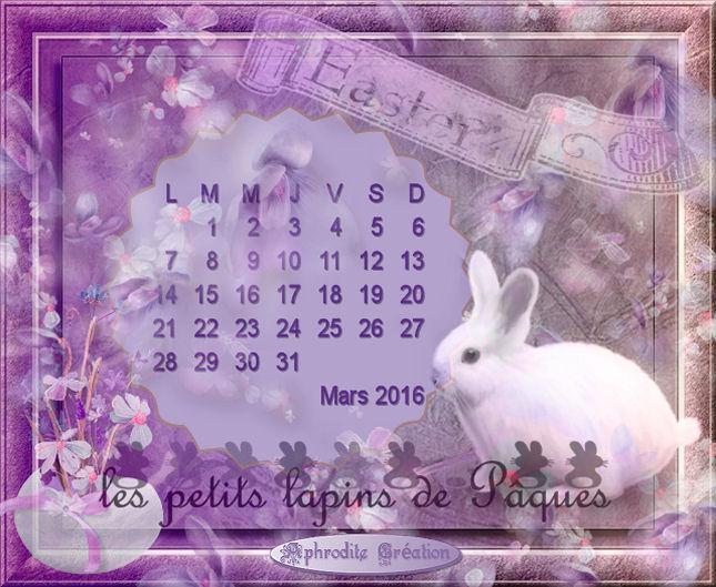 Calendrier Mars 2016 série Fêtes de Pâques