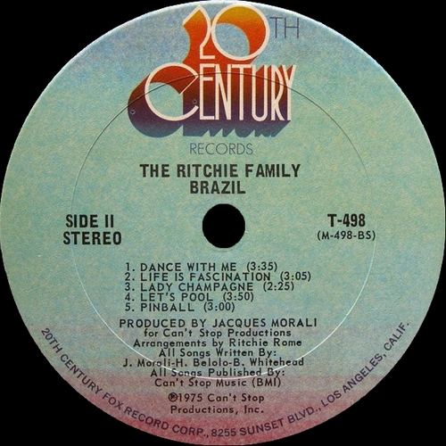 "The Ritchie Family : Album "" Brazil "" 20Th Century Records T-498 [ US ]"