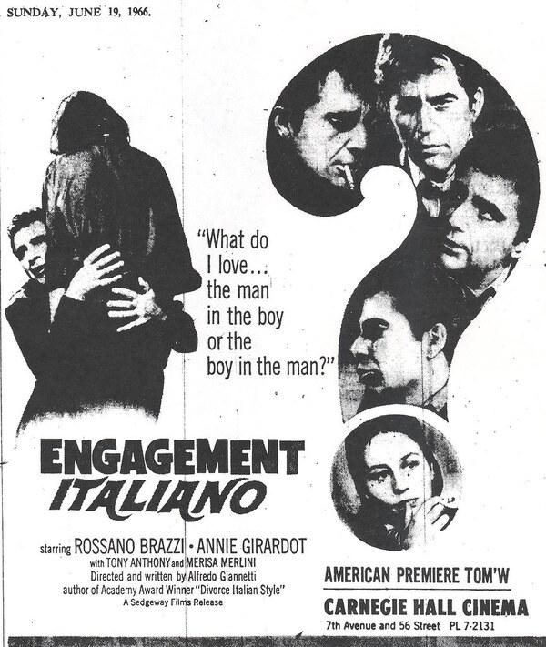 ENGAGEMENT ITALIANO box office usa 1966
