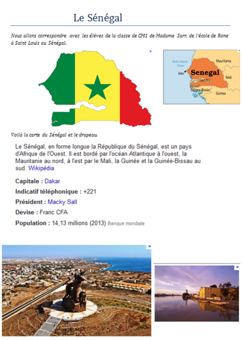 CORRESPONDANCE Sénégal