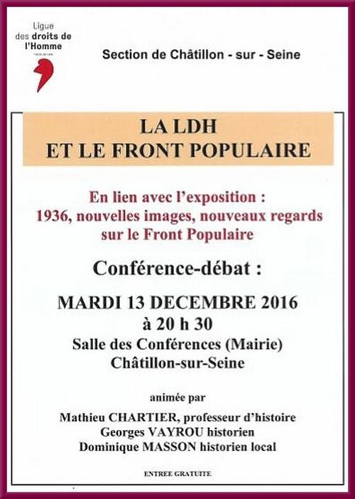 Le Front Populaire évoqué par la Ligue des Droits de l'Homme Châtillonnaise
