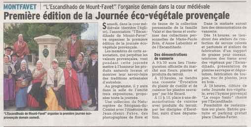 Journée Eco-Végétale Provençale  samedi 30 mai 2015