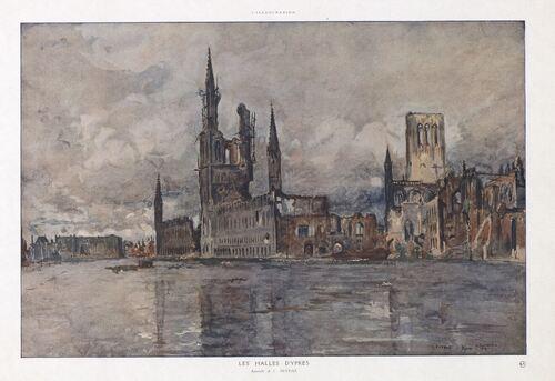 Charles Duvent - Les Halles d'Ypres, 1915 (bibliotheques-clermontmetropole.eu)