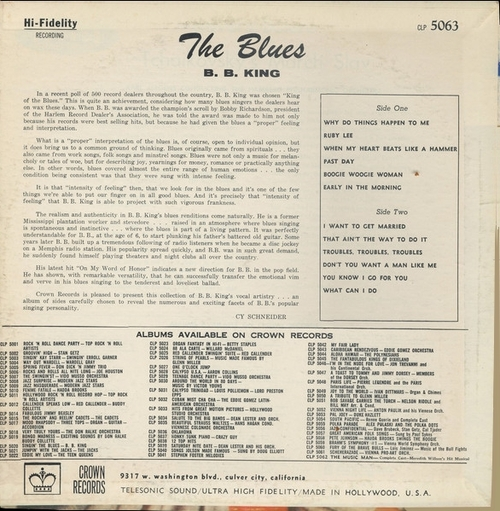 "B.B. King : Album "" The Blues "" Crown Records 5063 [ US ]"