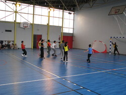 We play handball