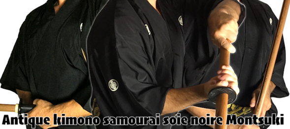 "Avis client Bushidoshop Ancien kimono japonais Samourai soie noire Mokkou Montsuki & Luxe hakama Iaido Shima rayé ""Made in Japan"""