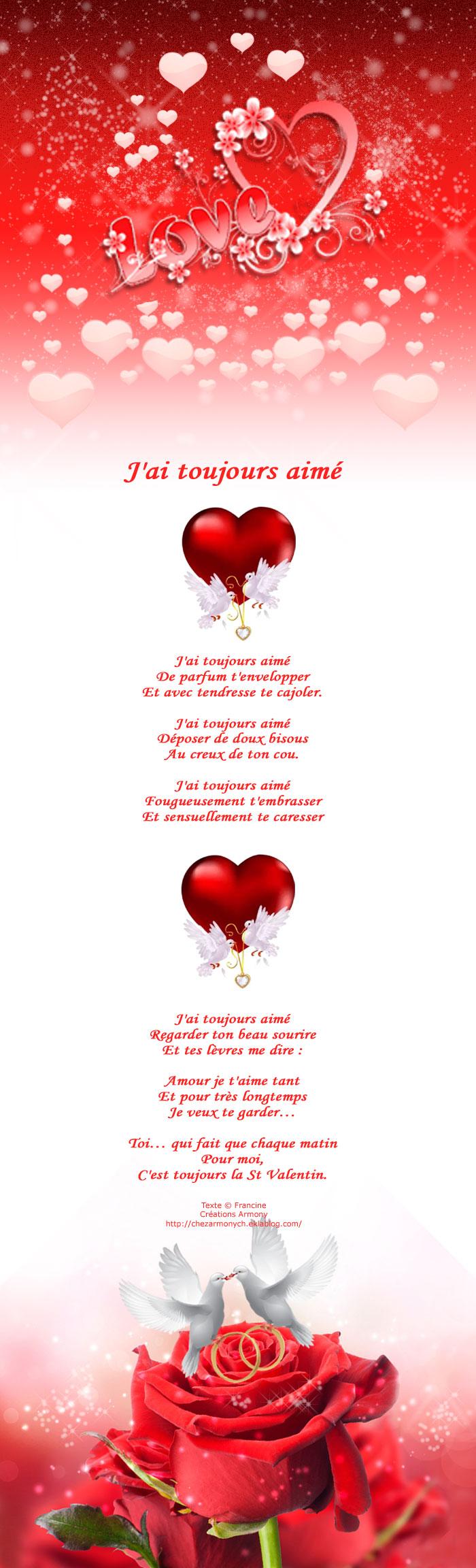 Poème st-valentin J'ai toujours aimé