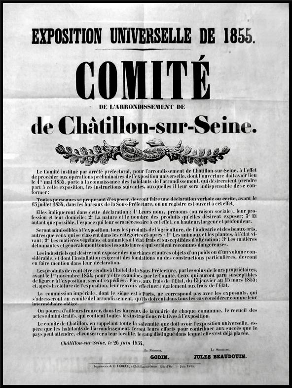 Le Châtillonnais à l'exposition universelle de 1855