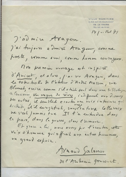 Une lettre inédite d'Armand Salacrou sur Aragon (Nicolas Mouton, ITEM)