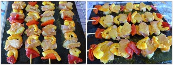 Brochettes de crevettes & ananas au bacon