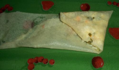 Samoussas aux petits coraya et au sésame- plus pliage en photos
