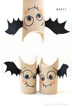 Toilet Roll Bat Buddies - 5min halloween craft for kids | MollyMooCrafts.com: