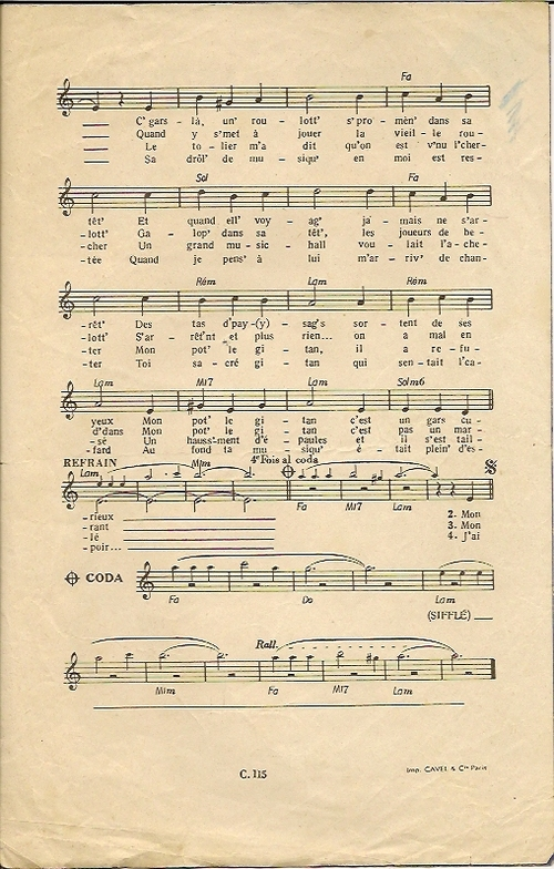 Mon Pot' le Gitan ( ancienne chanson )