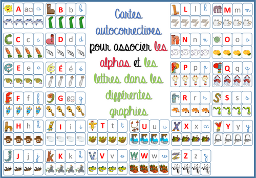 cartes association Alphas / lettres