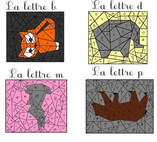 Essai de coloriage magique reconnaître les graphies de la lettre P