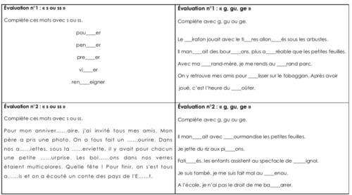 Les mini évaluations CE2 en français n°2.