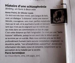 Histoire d'une schizophrénie : un livre à plusieurs voix Anne Poiré Patrick Guallino 2014