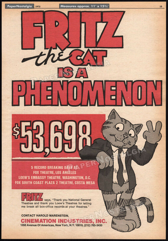 FRITZ THE CAT BOX OFFICE USA 1972