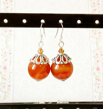 Boucles d'oreilles Pierre orange de Cornaline boules 16mm et cristal de Swarovski / Sterling silver