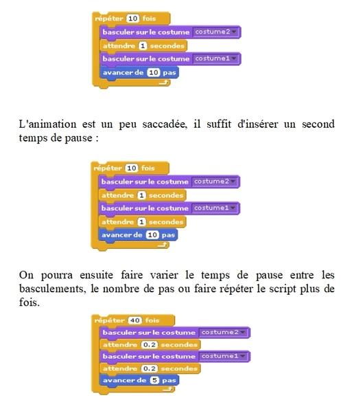Scratch : faire avancer un personnage
