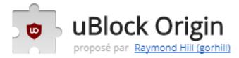 Extention avec Chrome : Un bloqueur de nuisances efficace, qui ménagera votre processeur et votre mémoire vive. uBlock₀ est une extension qui bloque les publicités et les pisteurs, légère en empreinte mémoire et en utilisation du processeur et qui  pourtant, est capable d'utiliser et de traiter des milliers de filtres de plus que la plupart des autres bloqueurs. ...