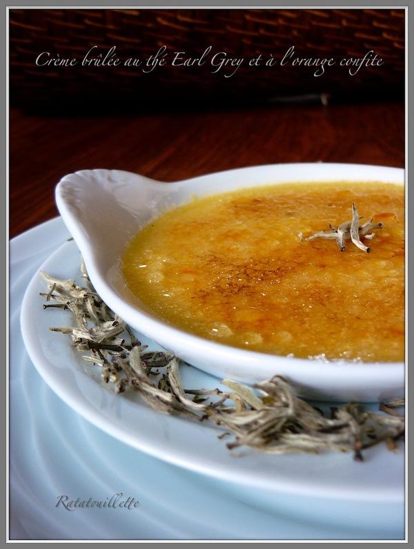 Crème brûlée au thé Earl Grey et à l'orange confite
