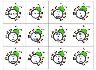 Cartes à choix fractions et décimaux