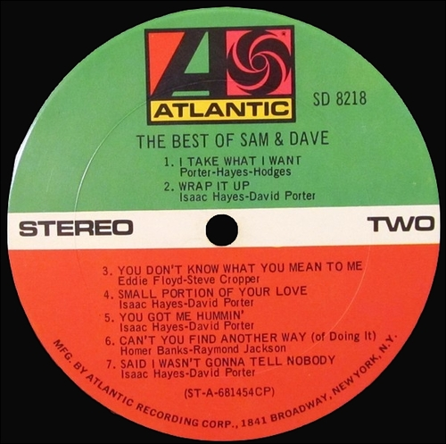 "Sam & Dave : Album "" The Best Of Sam & Dave "" Atlantic Records SD 8218 [ US ]"