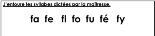Les premières dictées de syllabes des CP