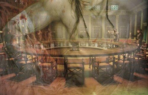 Montage d'une peinture de Luis Royo et d'un screen du film d'Arthur et la table ronde