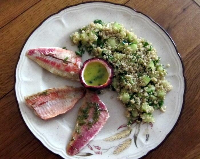Filets de rouget marinés et salade de quinoa